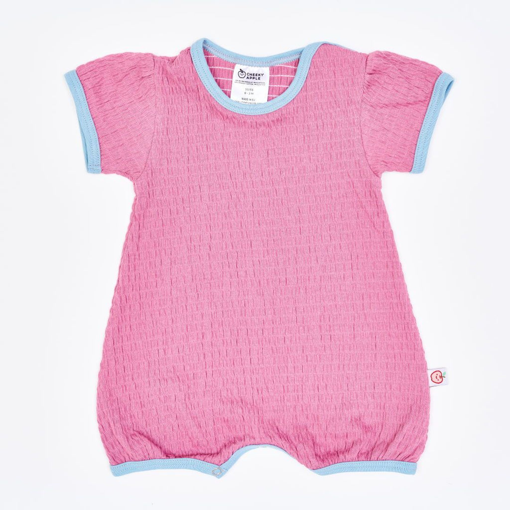 "Organic shortsleeve playsuit ""Crincle Vintage Rose"" made from 95% organic cotton and 5% elastane"
