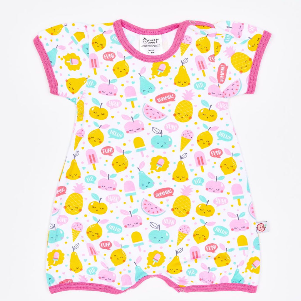 "Organic shortsleeve playsuit ""Yummy"" made from 95% organic cotton and 5% elastane"
