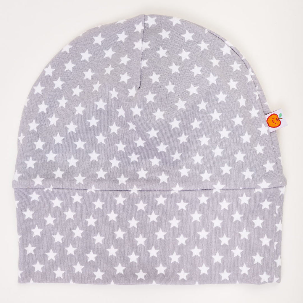 "Lined baby hat ""Stars Grey-white"""