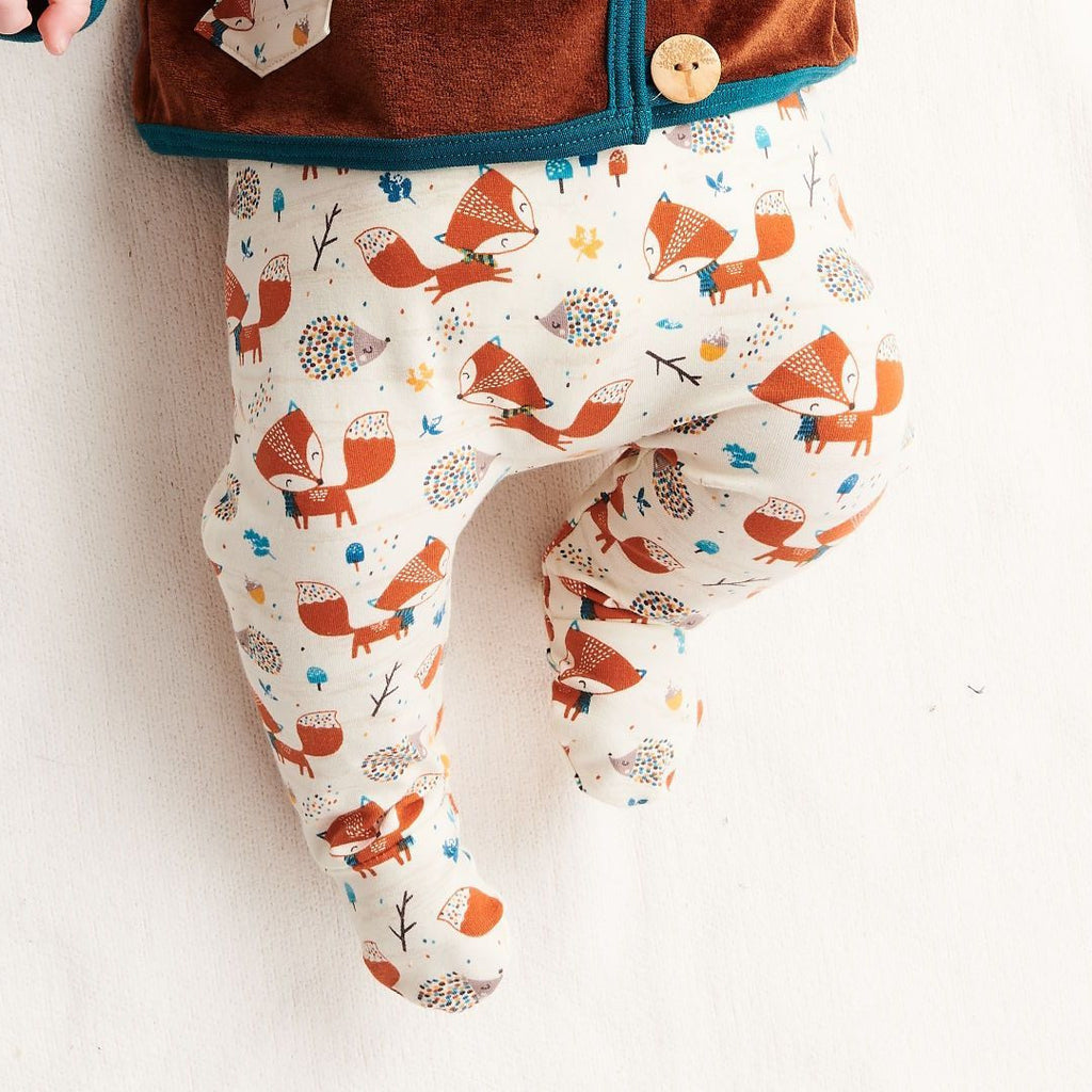 "Footed pants ""Fox & Hedgehog/Rust"""