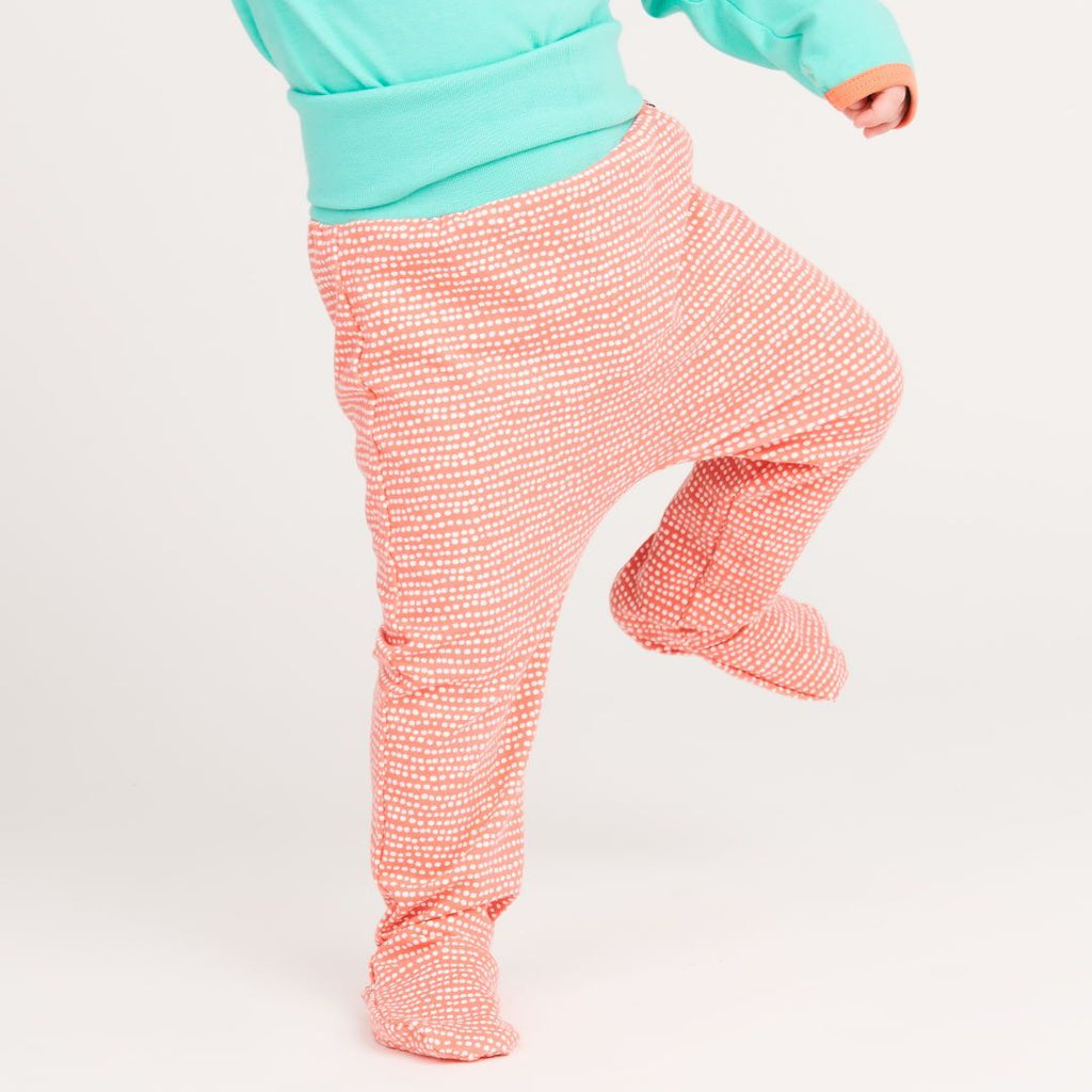 "Footed pants ""Dotted Lines Coral/Mint"""