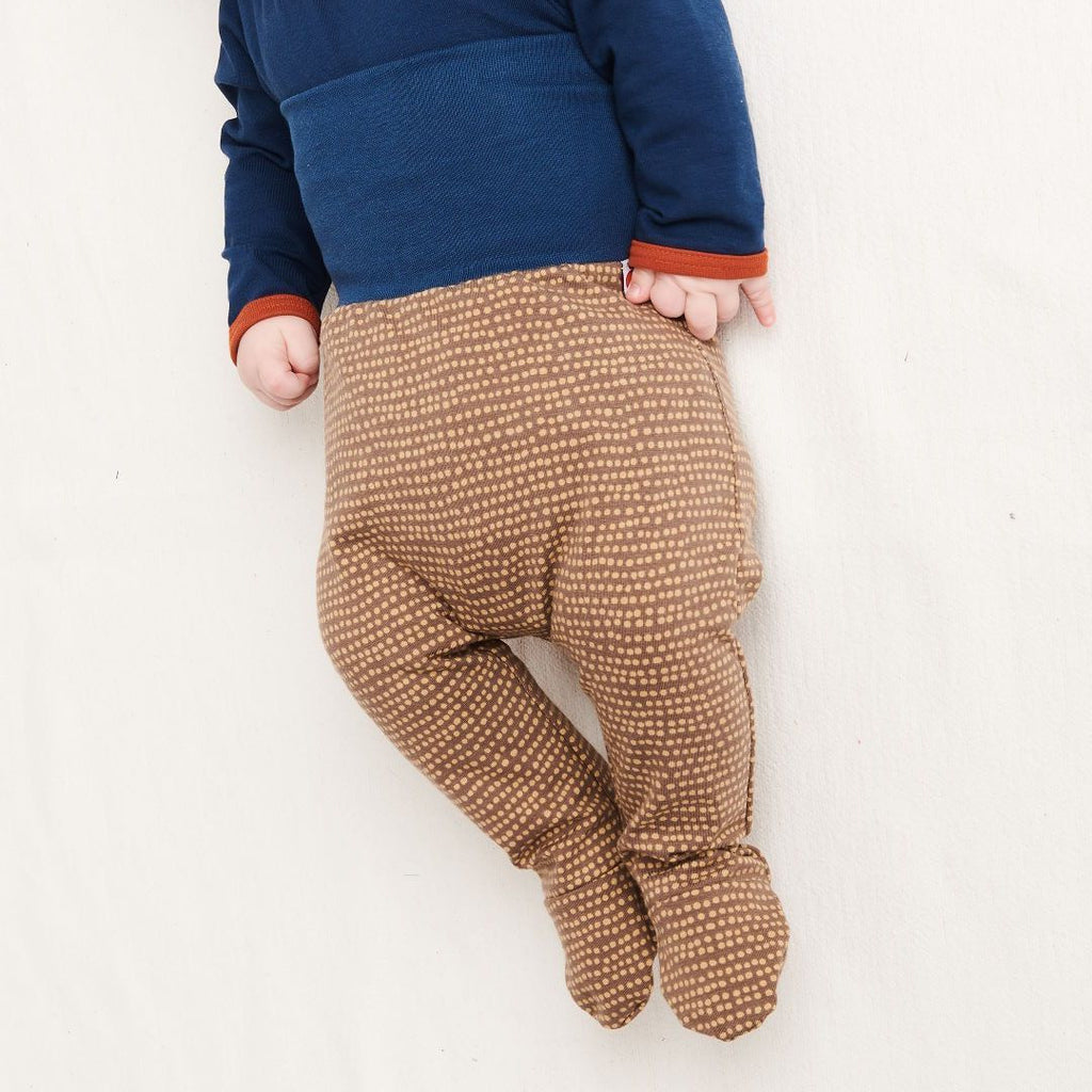 "Footed pants ""Dotted Lines Taupe/Indigo"""