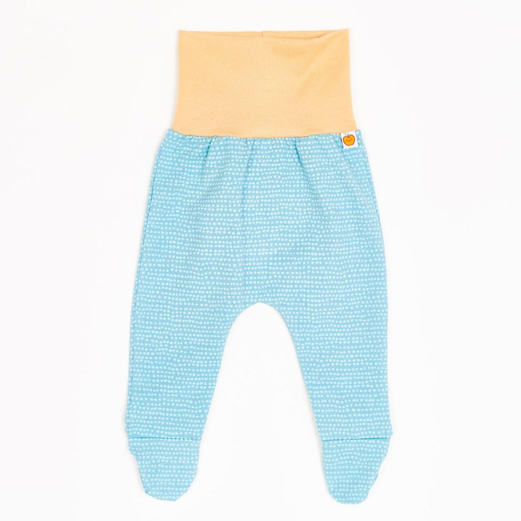 "Footed pants ""Dotted Lines Turquoise/Cream"""
