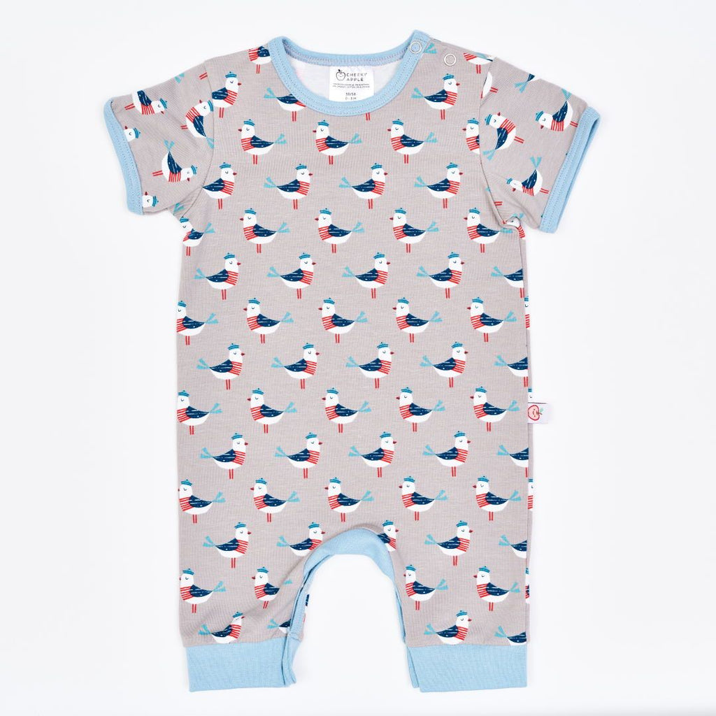 "Organic shortsleeved romper ""Seagull Fiete"" made from 95% organic cotton and 5% elastane"