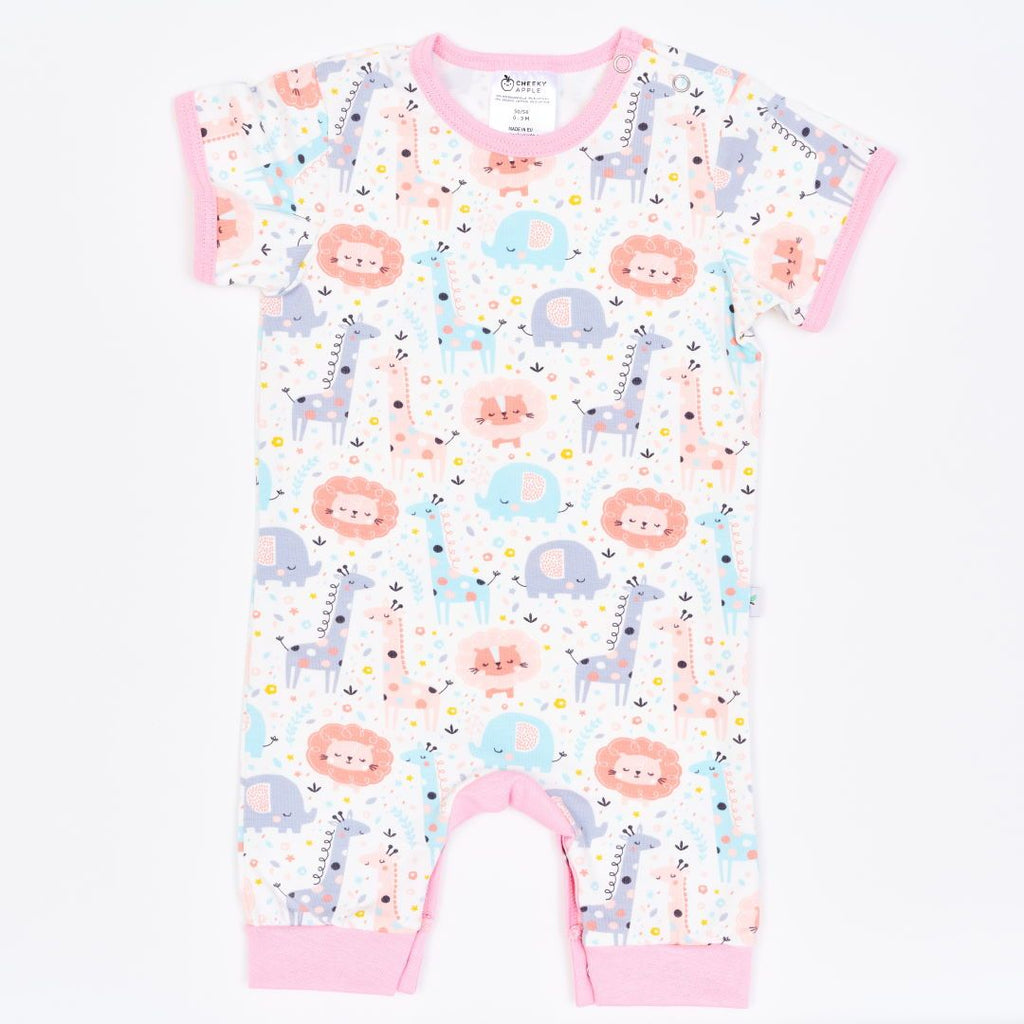 "Organic shortsleeved romper ""Mini Jungle Rose"" made from 95% organic cotton and 5% elastane"