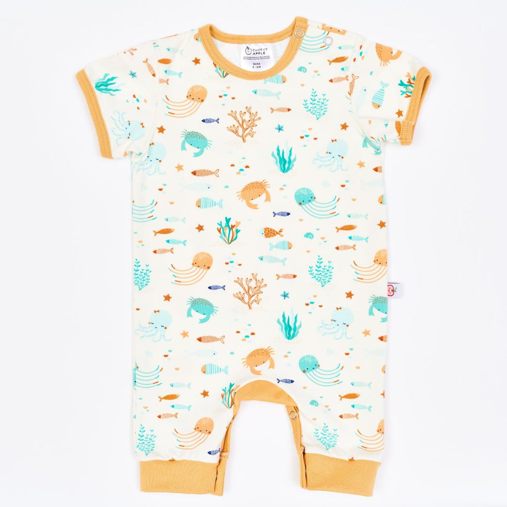 "Organic shortsleeved romper ""Ocean Party"" made from 95% organic cotton and 5% elastane"