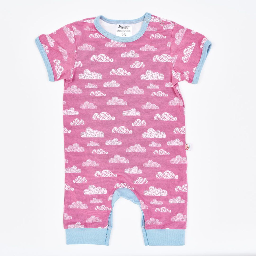 "Organic shortsleeved romper ""Clouds Vintage Rose"" made from 95% organic cotton and 5% elastane"