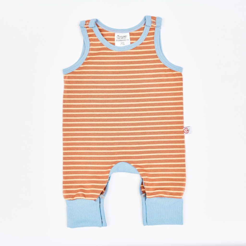 "Organic sleeveless romper ""Stripes Caramel"" made from 95% organic cotton and 5% elastane"