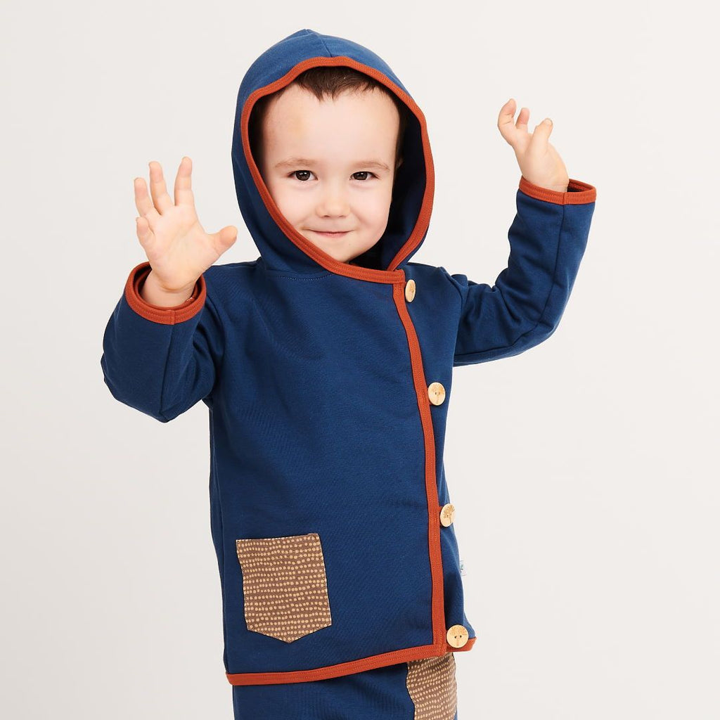 "Baby hoodie jacket ""Sweat Indigo/Dotted Lines Taupe"""