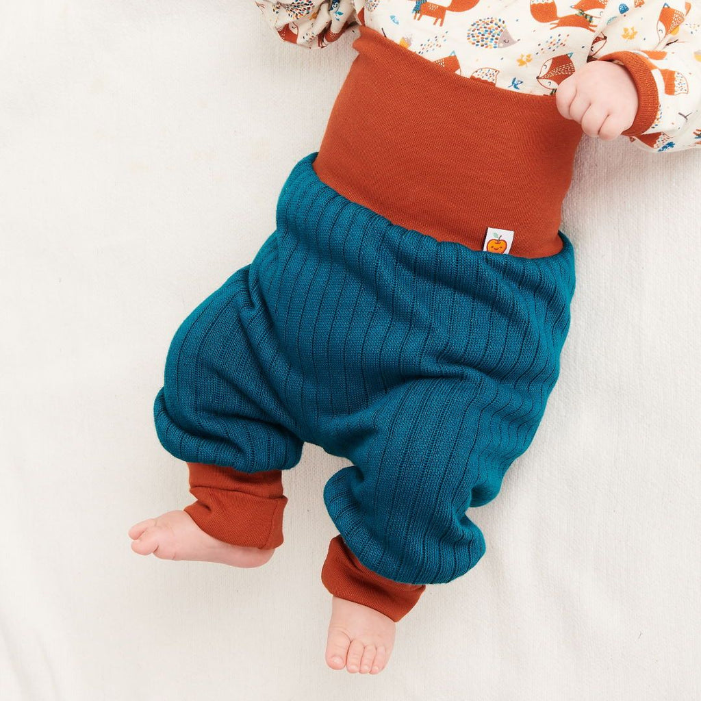 "Reversible baby pants ""Petrol"""