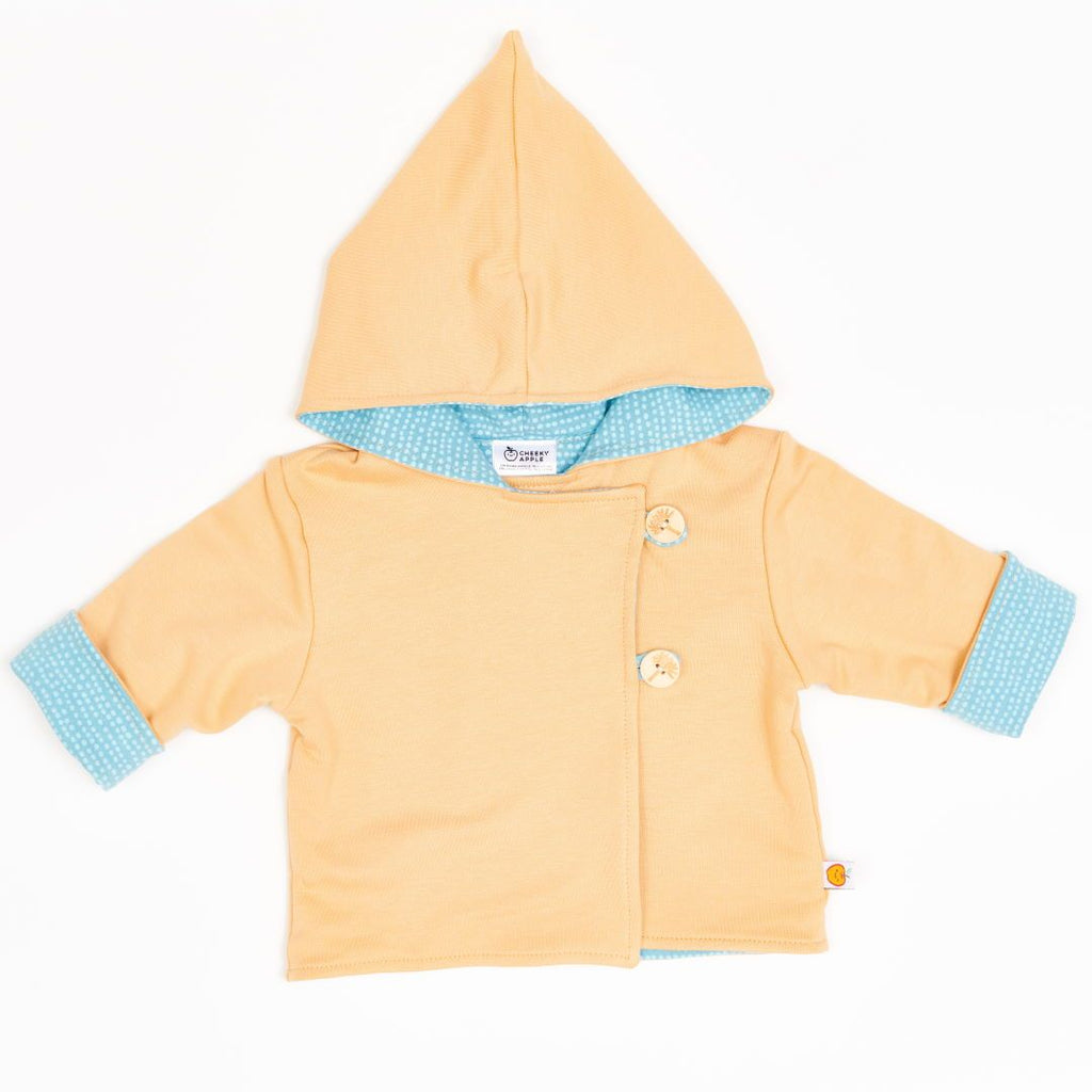 "Reversible baby jacket ""Cream/Dotted Lines Turquoise"""