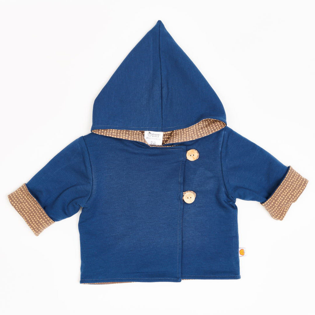"Reversible baby jacket ""Indigo/Dotted Lines Taupe"""