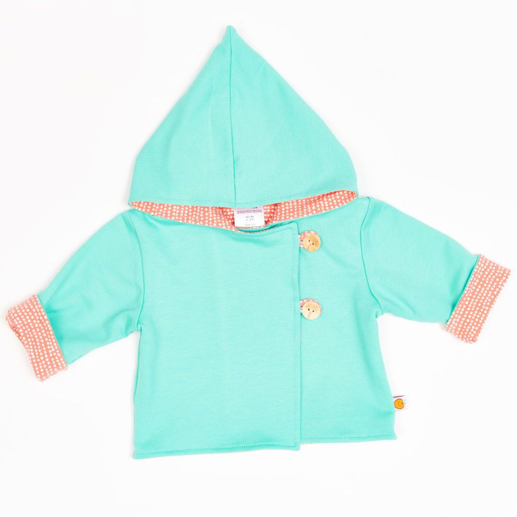 "Reversible baby jacket ""Mint/Dotted Lines Coral"""