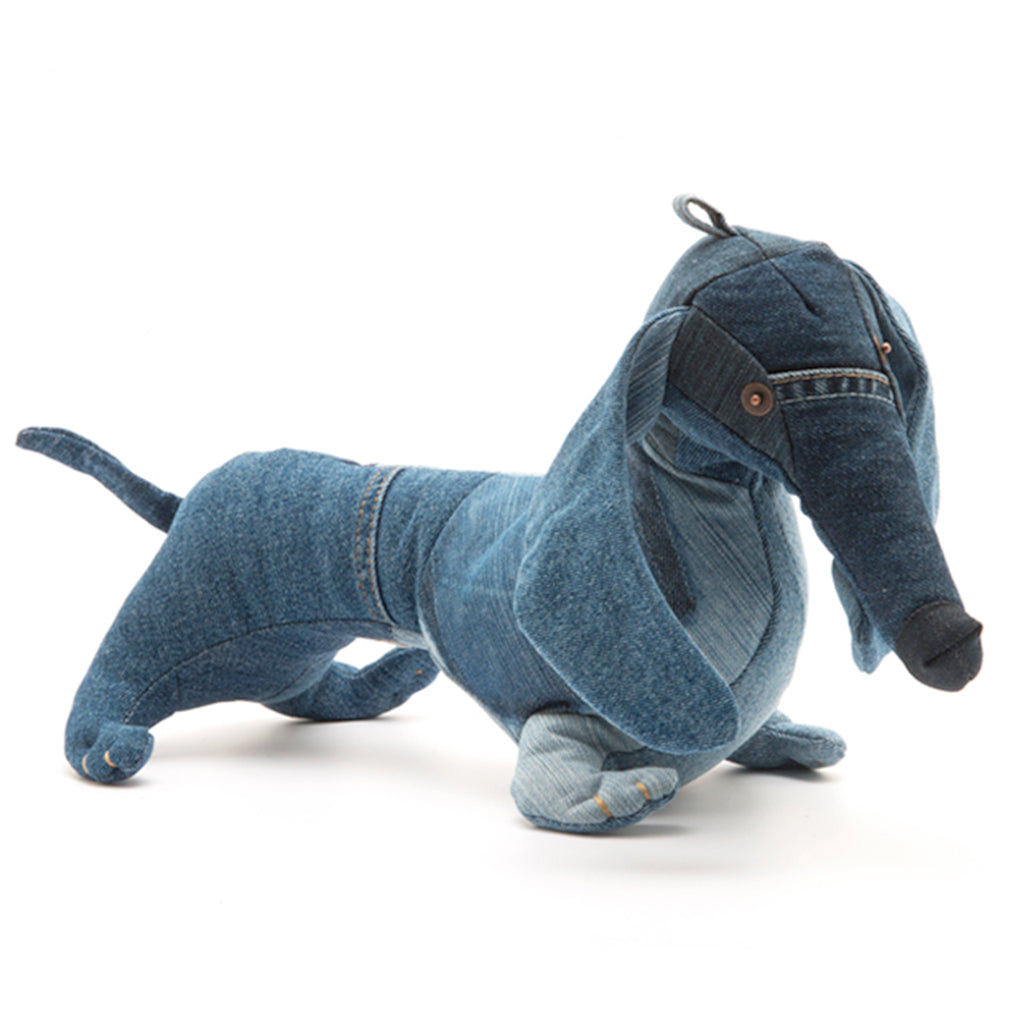 Daschund cuddly toy made from recycled denim scraps