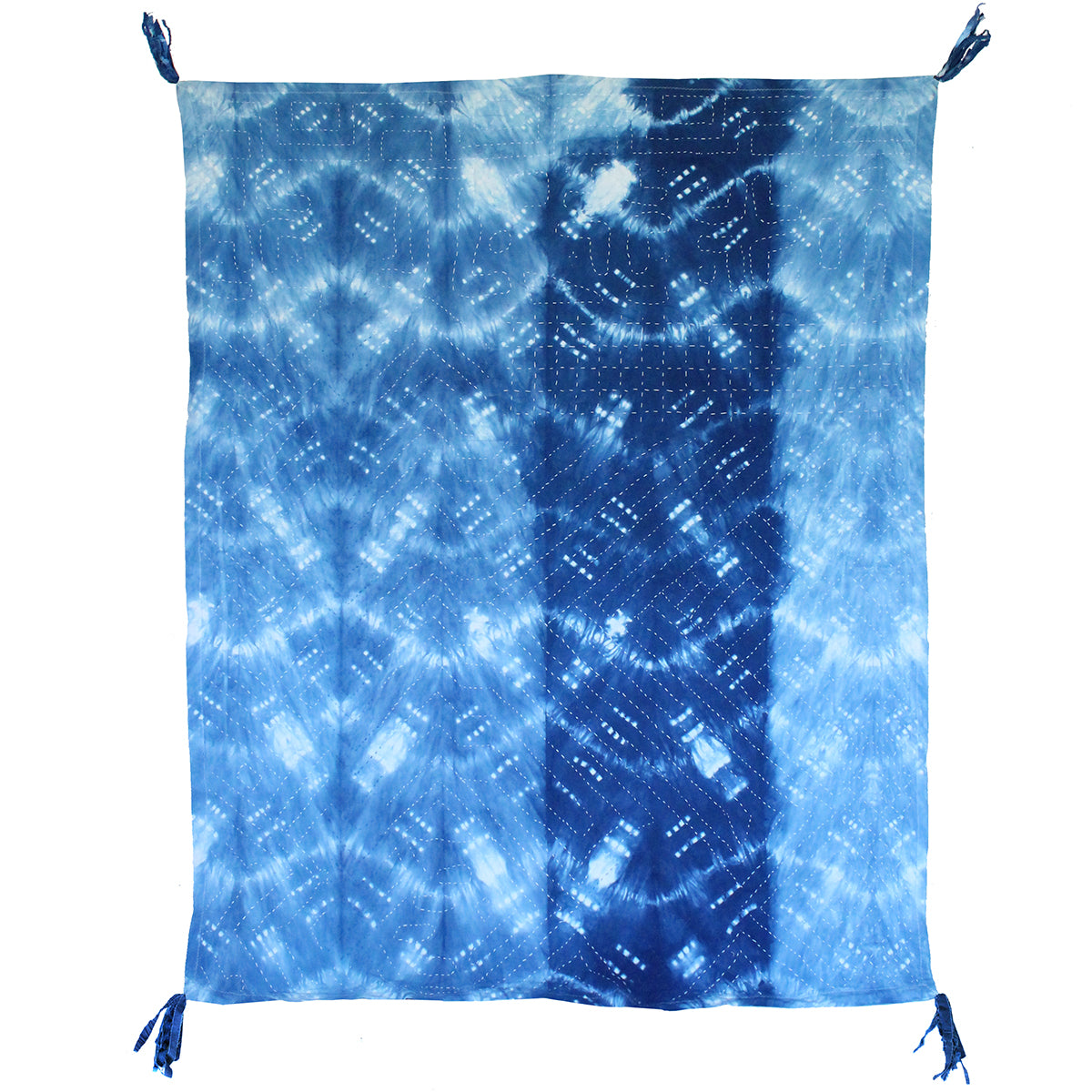 Reverse of Indigo dyed patchwork quilt