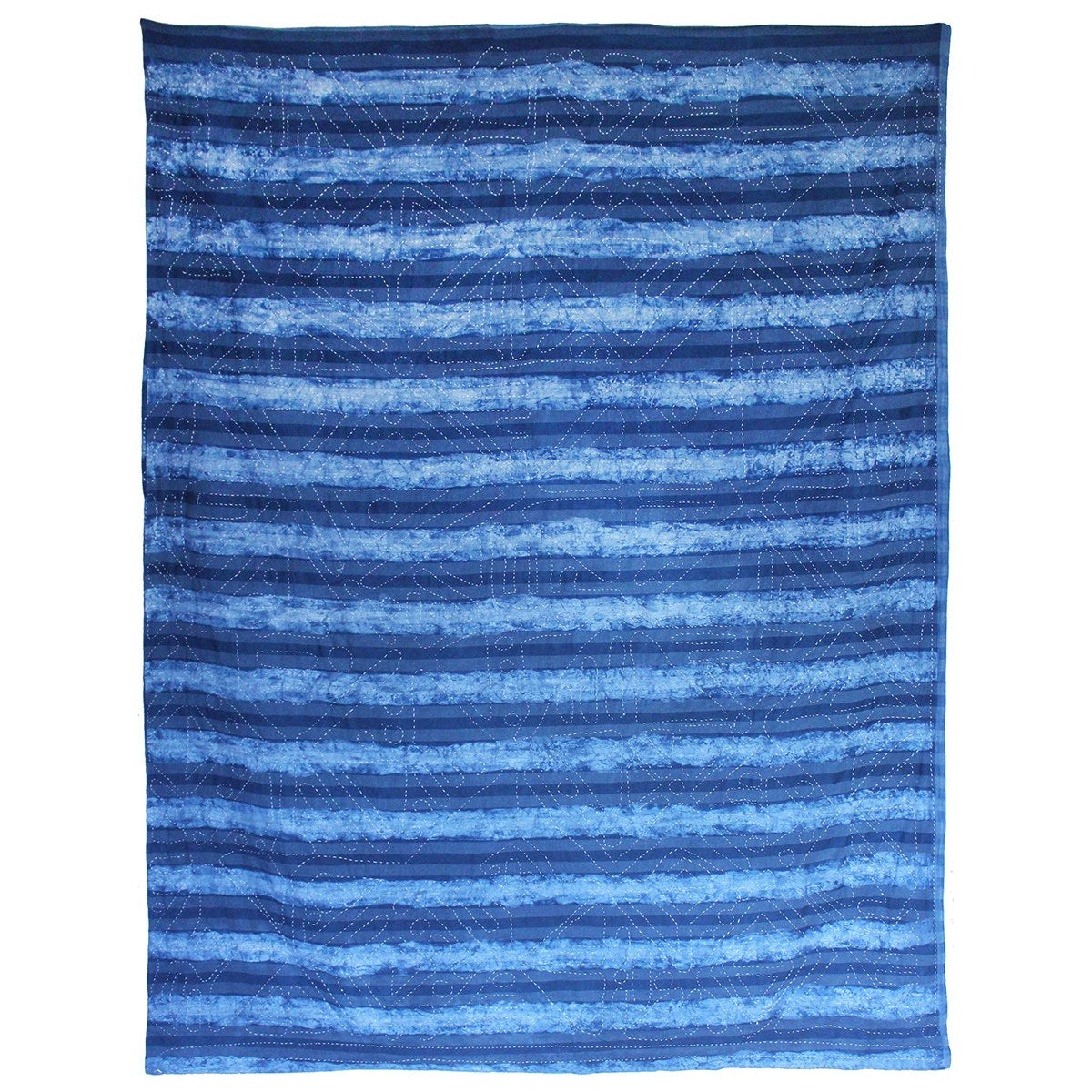 Striped reverse of indigo dyed quilt