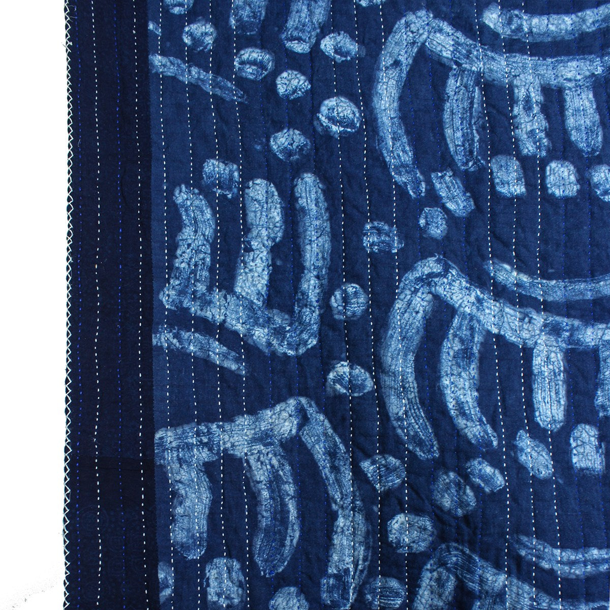 Detail of indigo dyed woven quilt