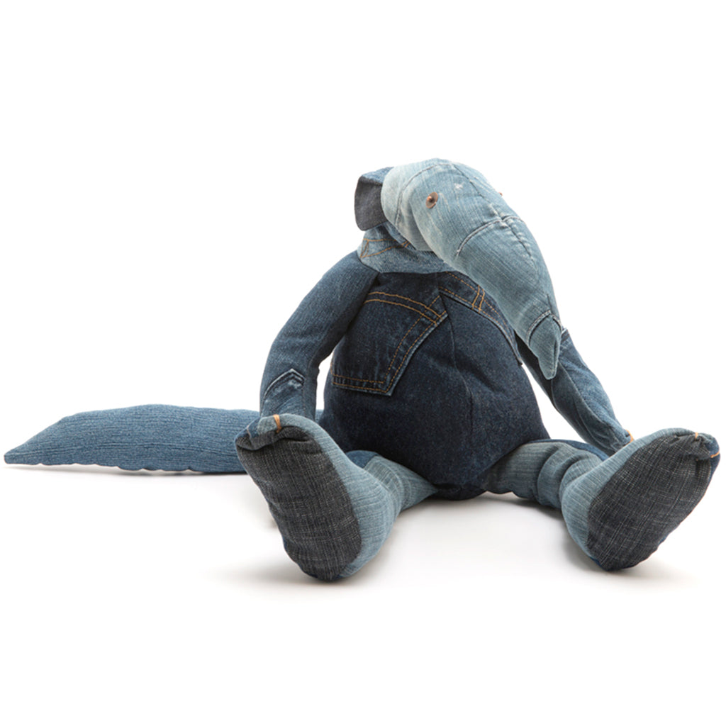Anteater cuddly toy made from denim scraps