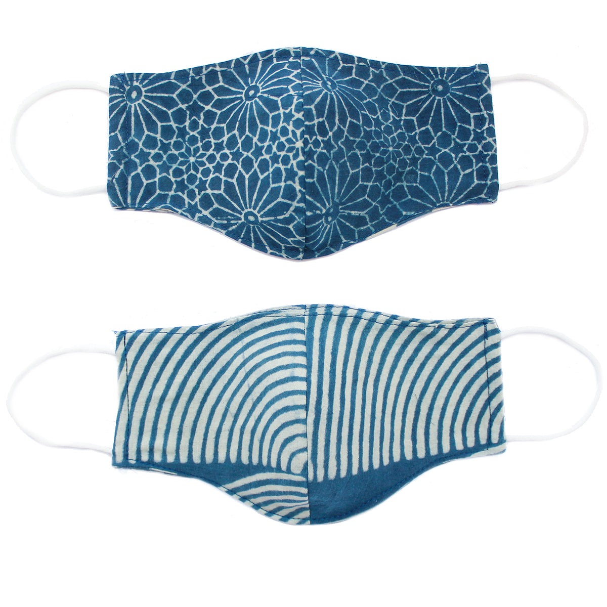 double sided hand block printed facemask by Mata Quilts in an indigo and white wifi design