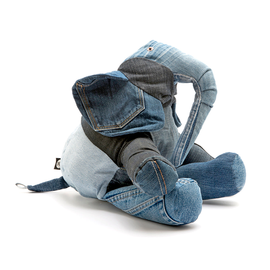 Elephant cuddly toy made from recycled denim