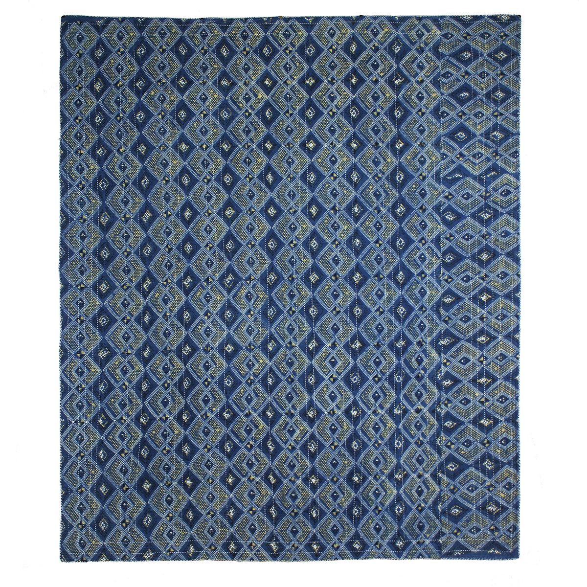 Revers of indigo dyed woven quilt