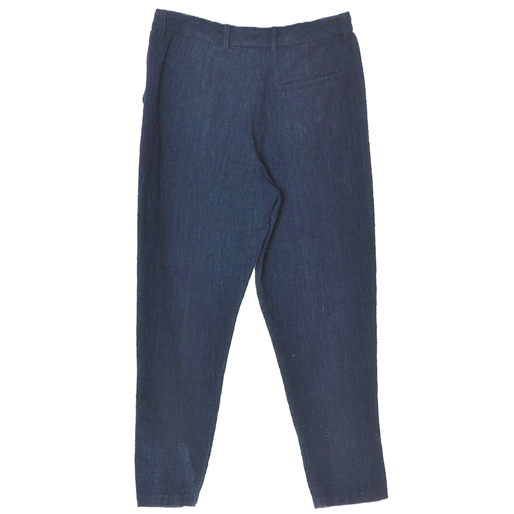 11.11 Eleven Eleven Hand Spun Mrigil Relaxed Tapered Natural Indigo Dyed Trousers Back View