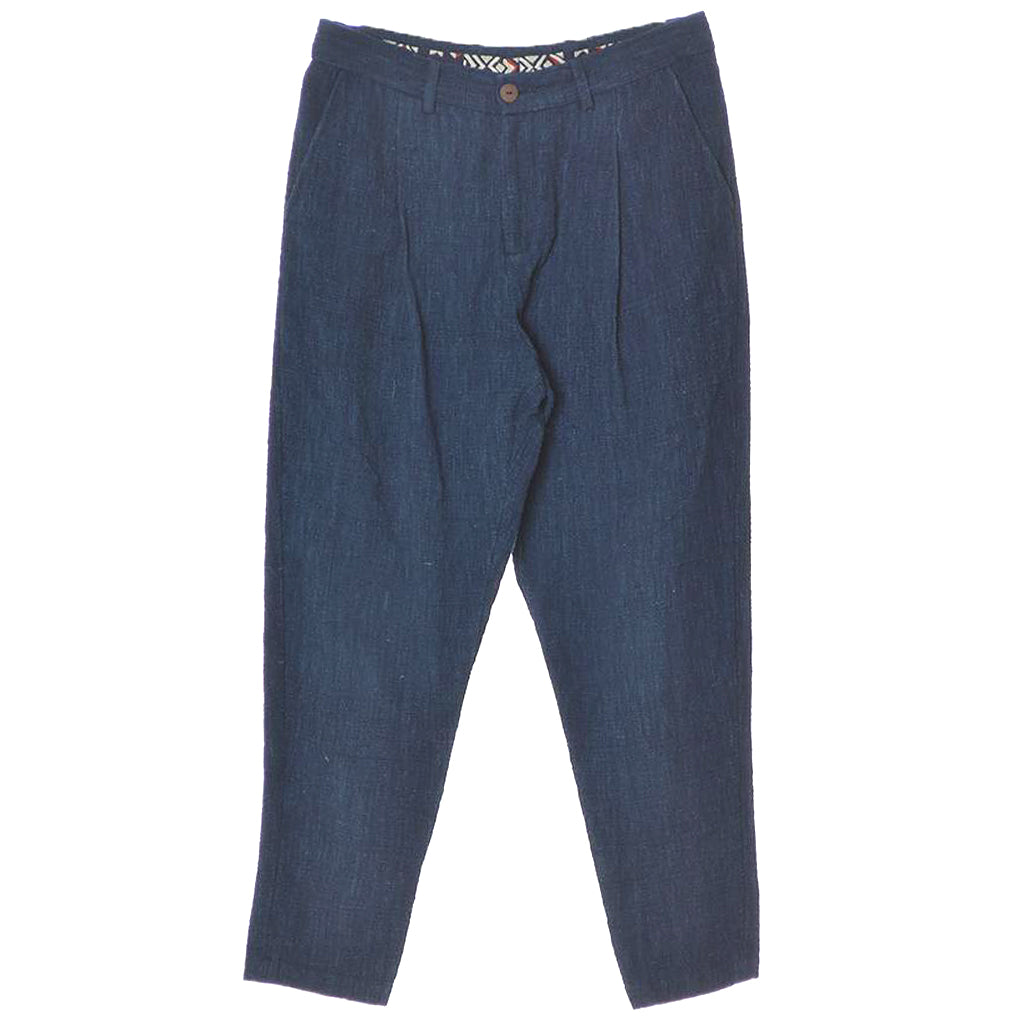 11.11 Eleven Eleven Hand Spun Mrigil Relaxed Tapered Natural Indigo Dyed Trousers Front View