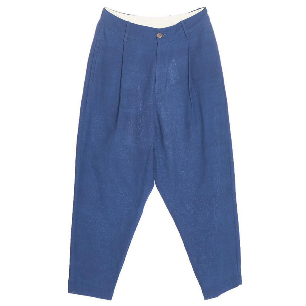 11.11 Eleven Eleven Hand Spun Tailored Relaxed Tapered Natural Indigo Dyed Trousers Front View