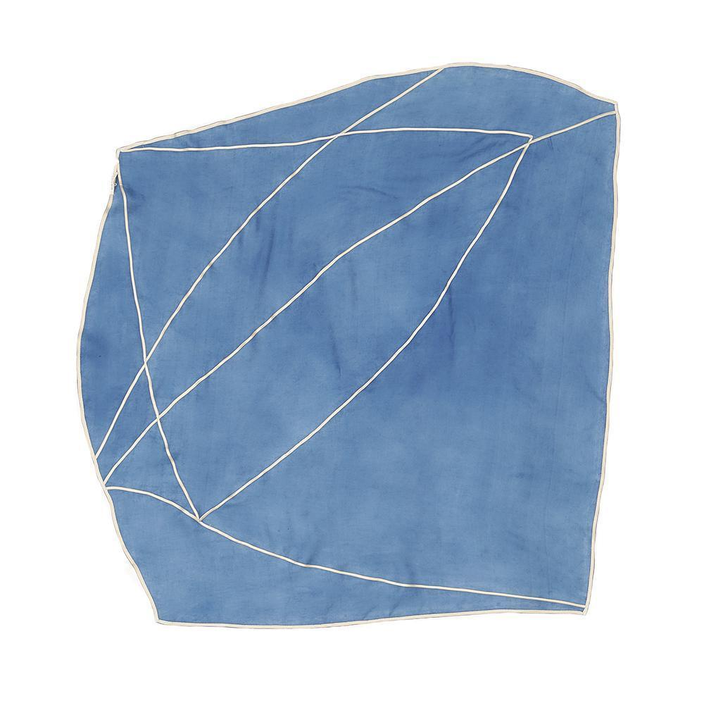 Indigo silk scarf with white ecru edging