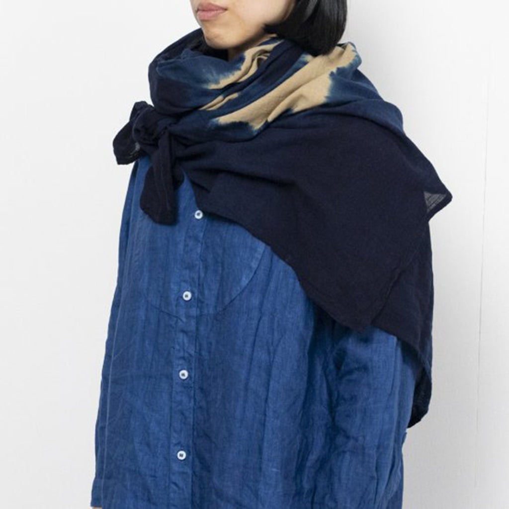 Natural Dyed Gauze Stole Shibori Check in 2 Colors