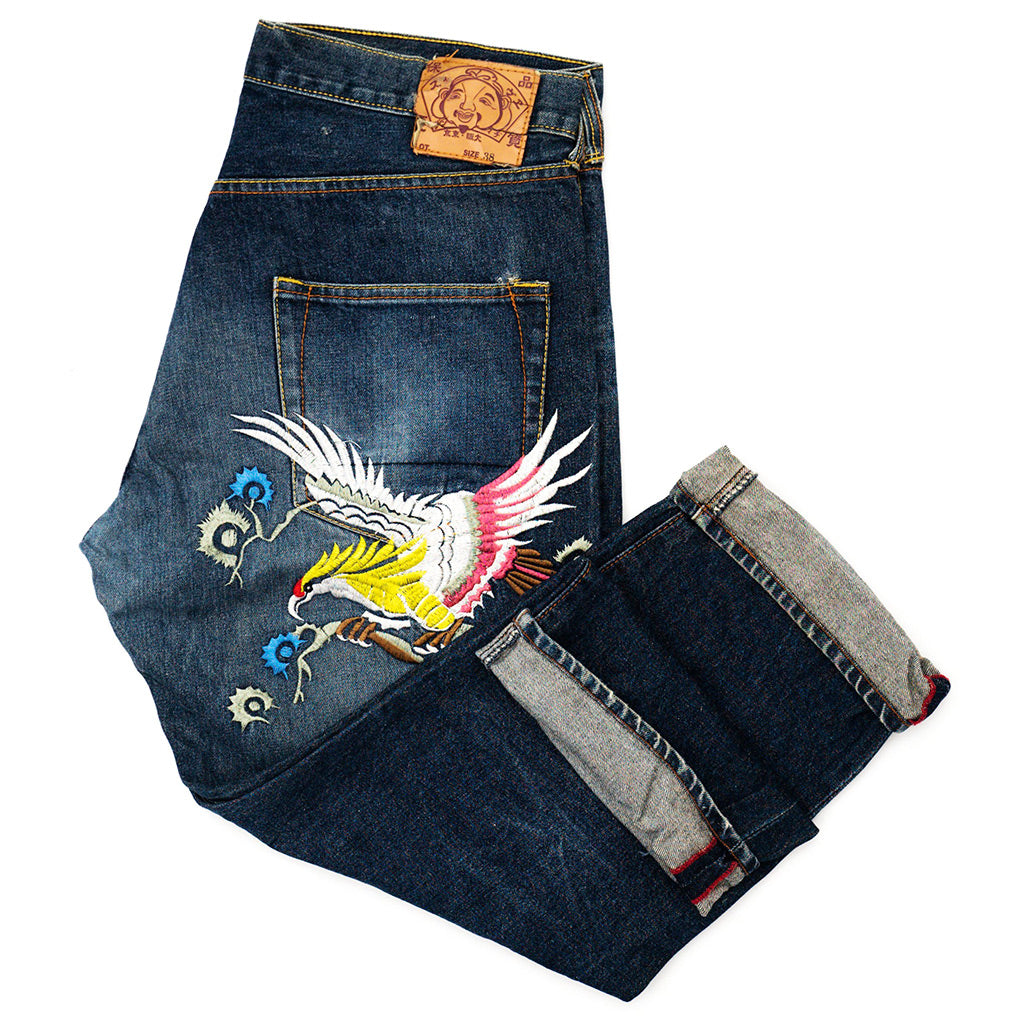 Transnomadica Evisu Japan Eagle Embroidered Jeans W37 x L28 Cuffed