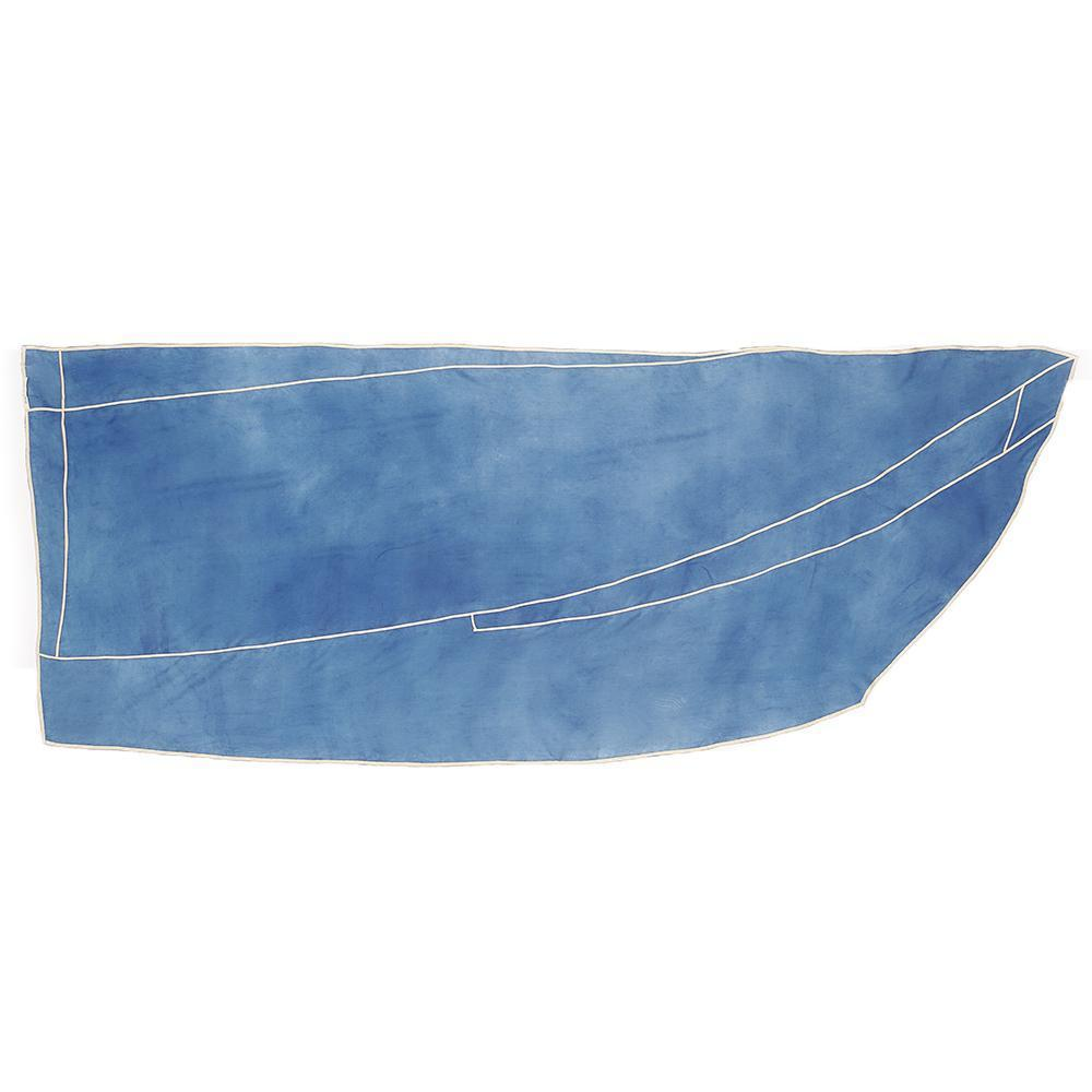 Indigo dyed silk scarf with ecru stiching