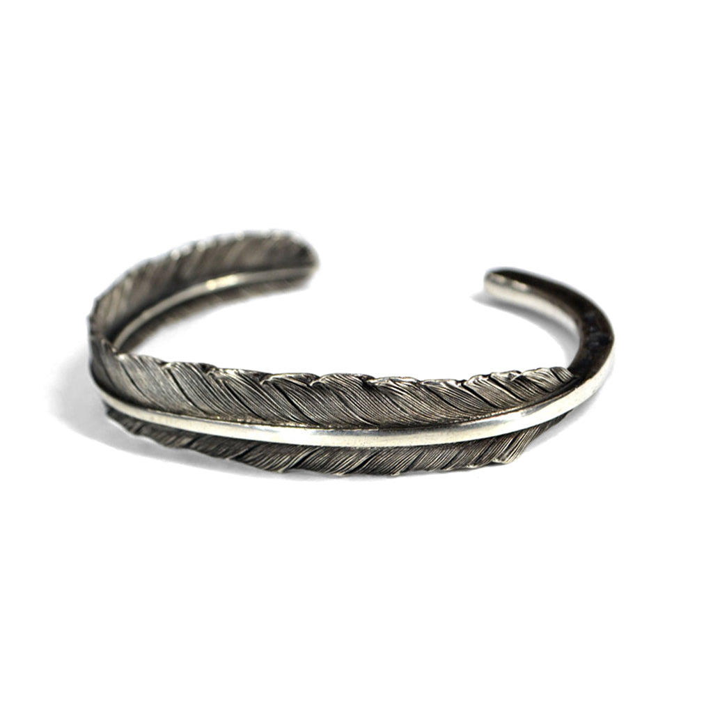 Silver carved feather bracelet bangle