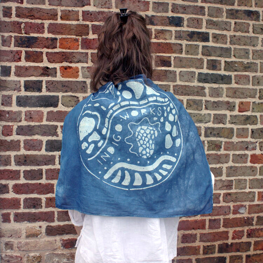 Katazome and indigo dyed bandana by Indigo Works