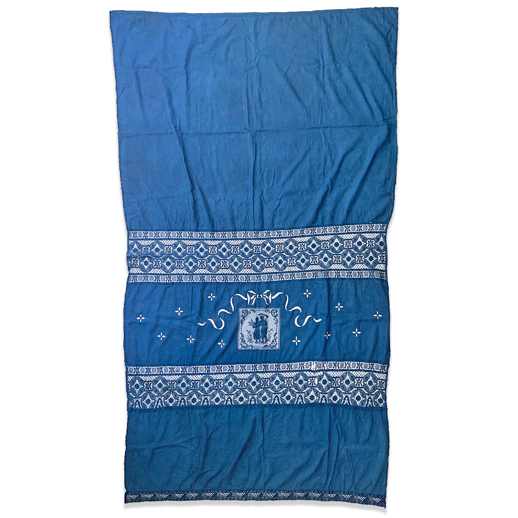 Indigo over dyed vintage linen curtain with wheat farmer motif and drawn thread embroidery lace insertions by Indiko