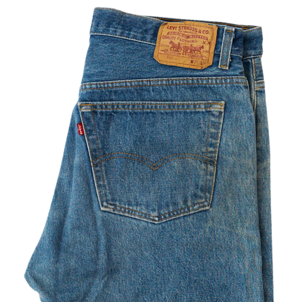 Transnomadica Levi's Button Fly 501 Jeans Made in USA W36 x L31 cuffed