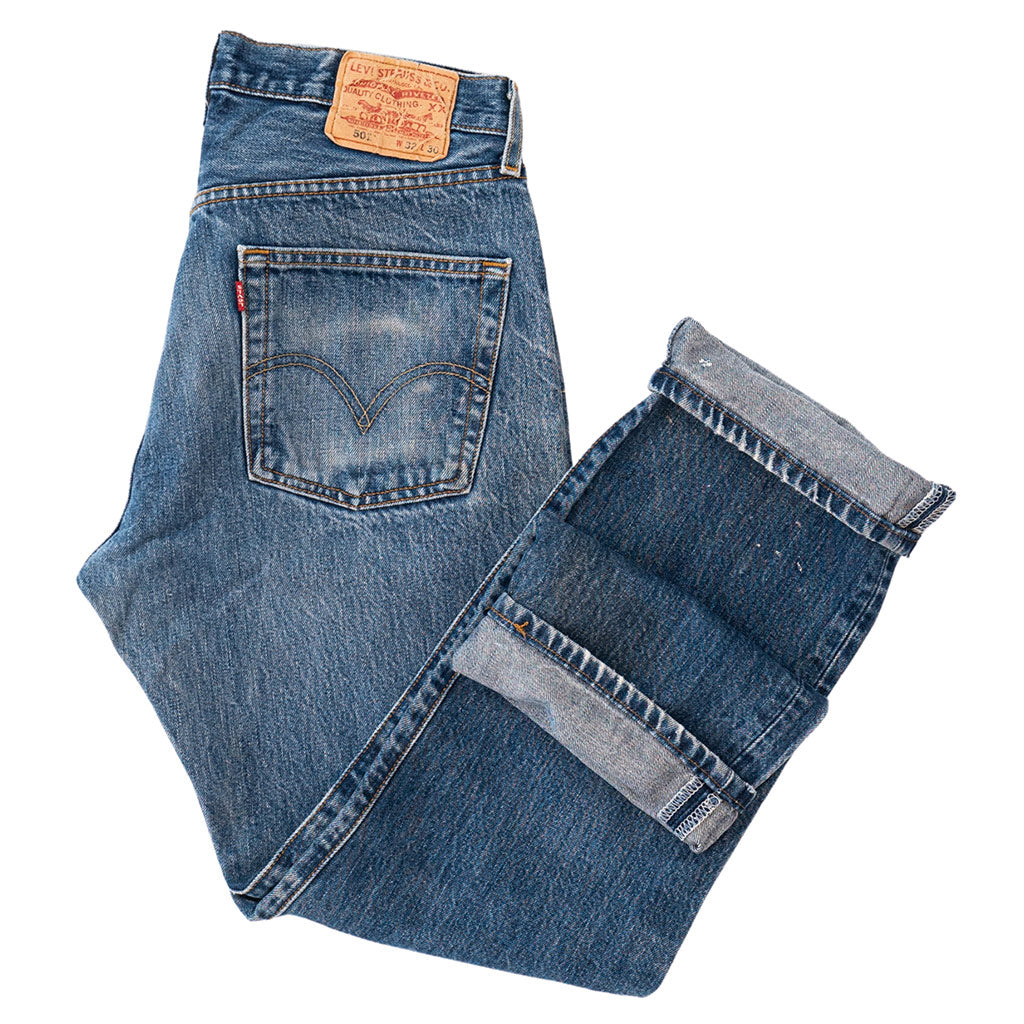 Transnomadica Levi's Button Fly 501 Lived In Jeans W31 x L30 Cuffed