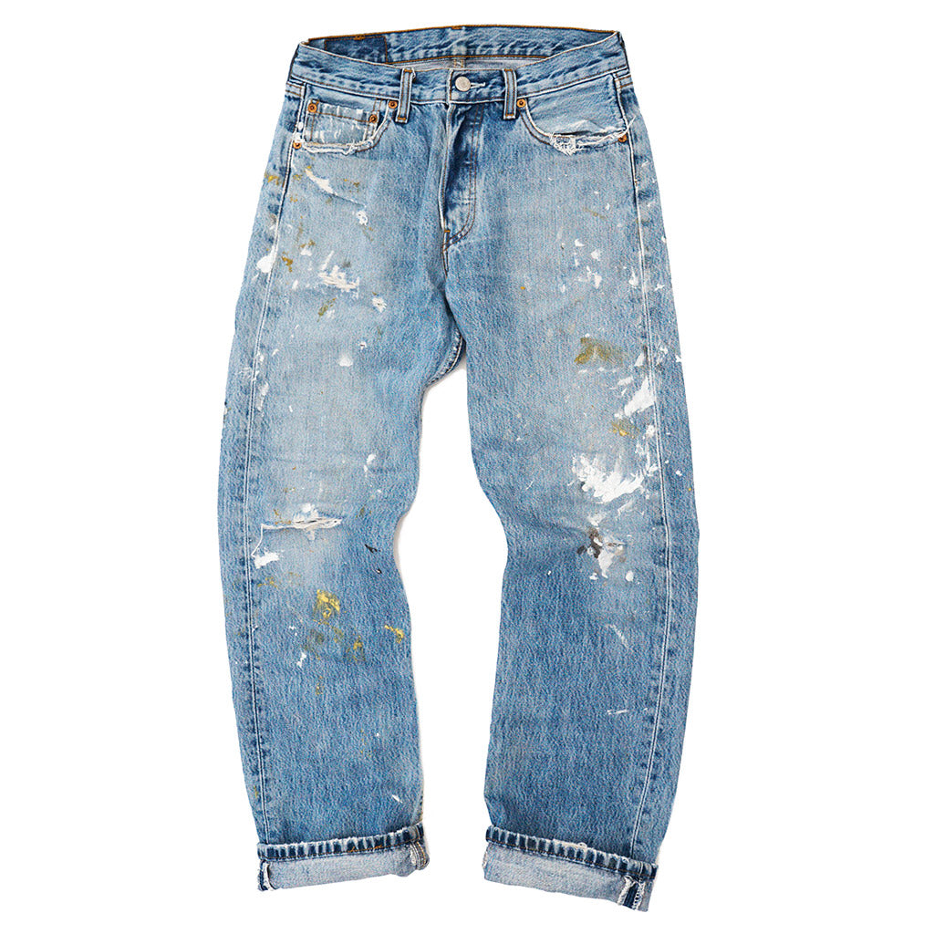 Transnomadica Levi's Button Fly 501 Paint Splatter Jeans W27 x L29 cuffed