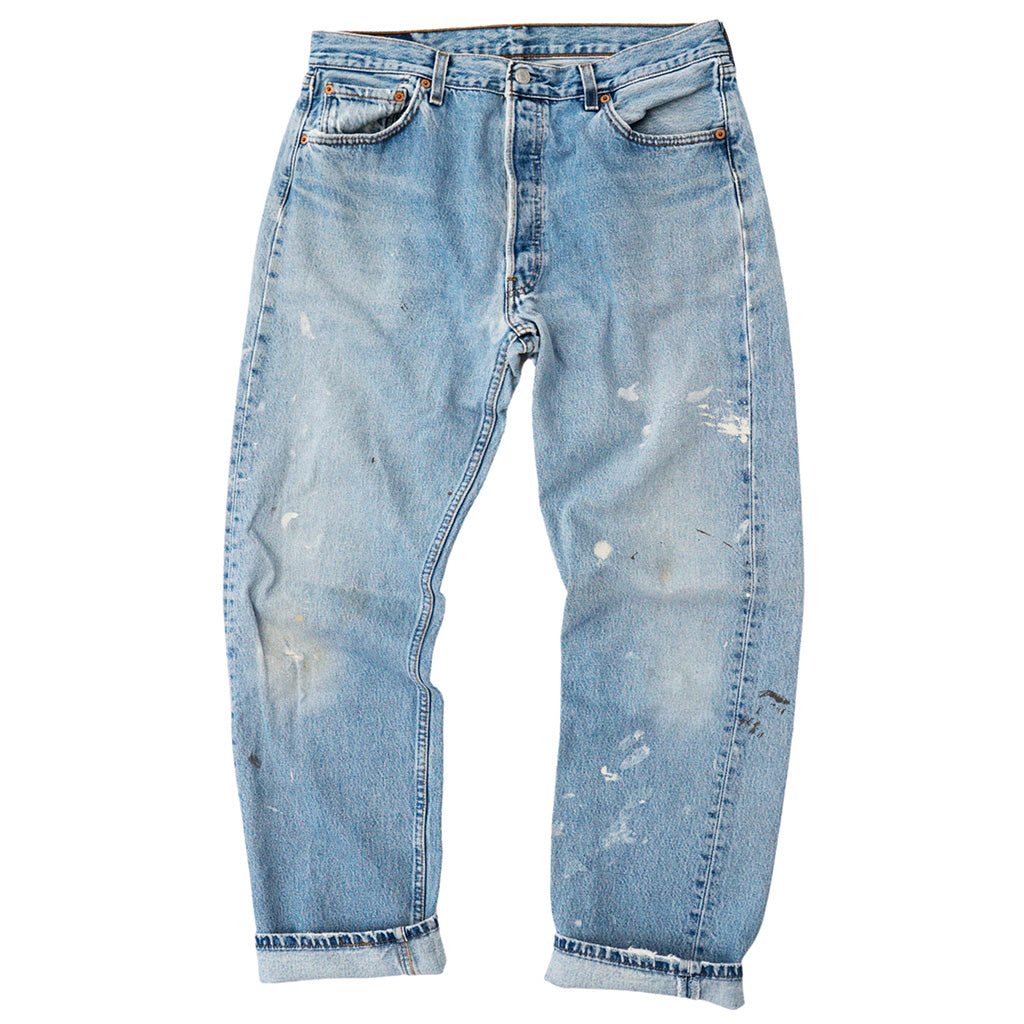 Transnomadica Levi's Button Fly 501 Paint Splatter W34 x L31 cuffed