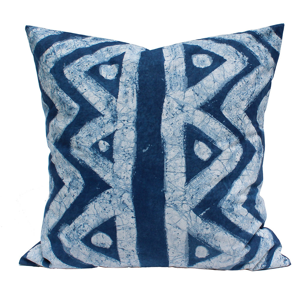 Hand Painted Mountain Lakes Indigo Pillow