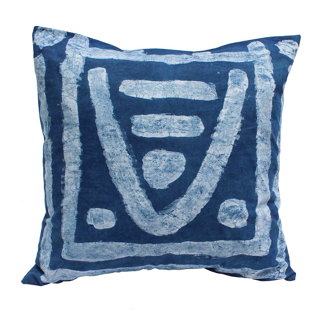 Hand Painted Valley Indigo Pillow
