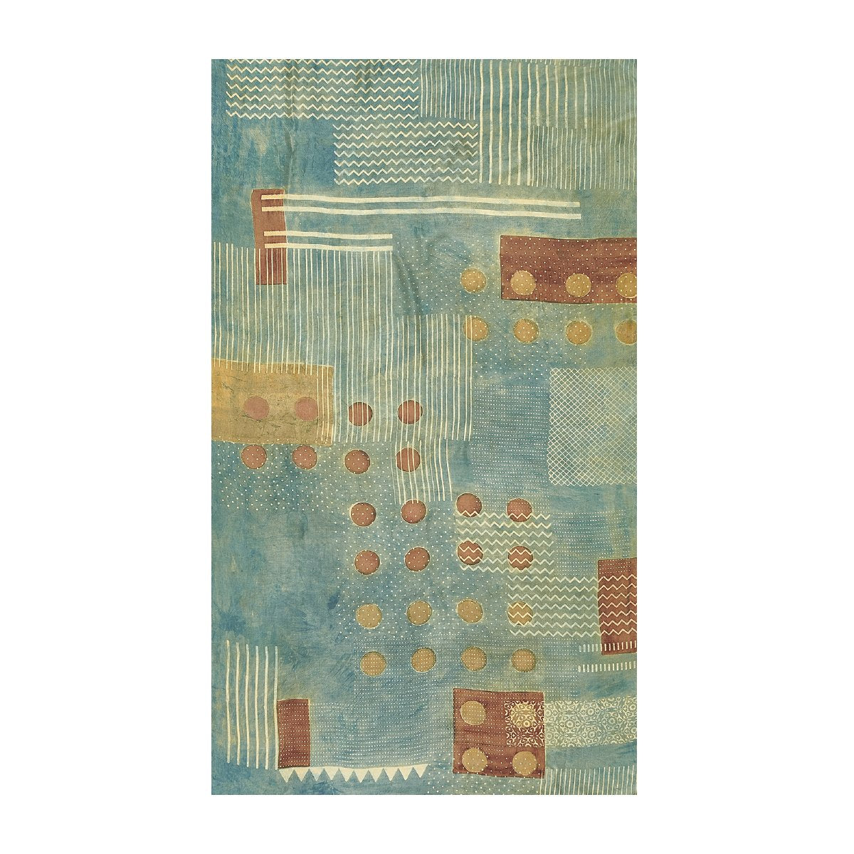 Natural Indigo Multi Color Block Printed Rug. Block, spotted and wave design in pale indigo, rust and natural ochre colors.
