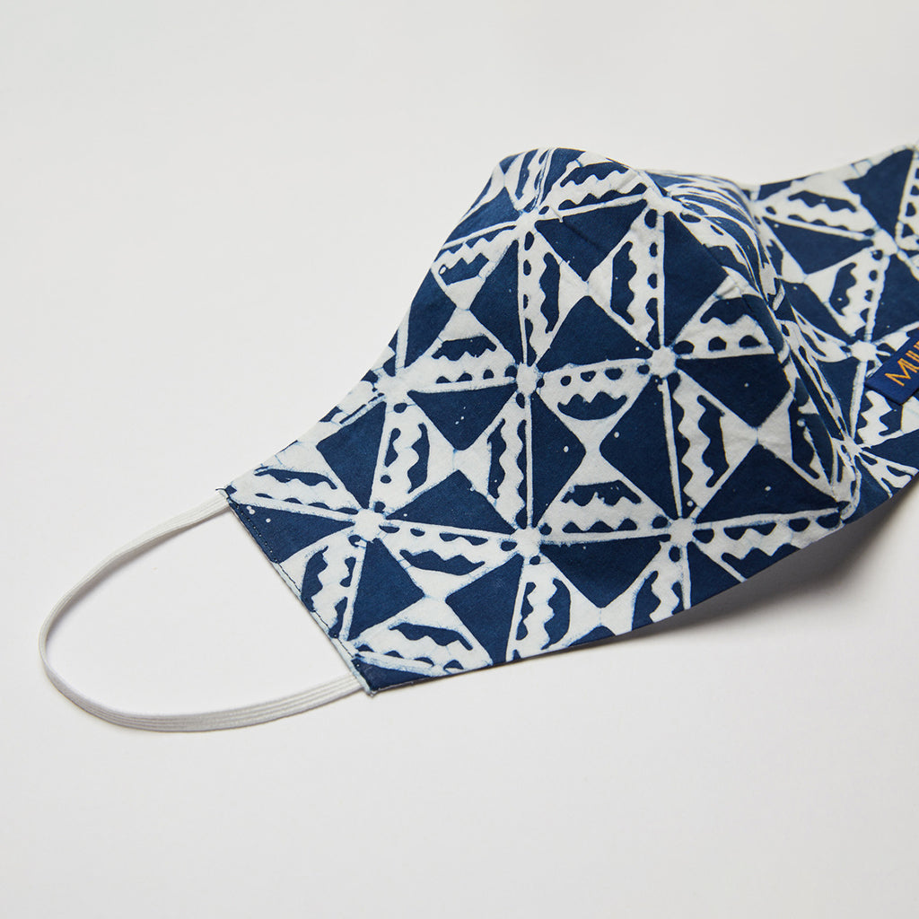 handcrafted batik dyed facemask by Muur