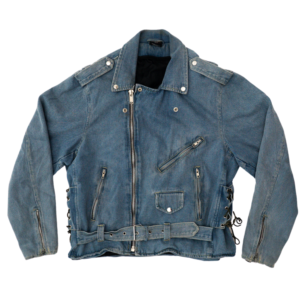 Transnomadica Zony Belted Motocycle Denim Jacket Large