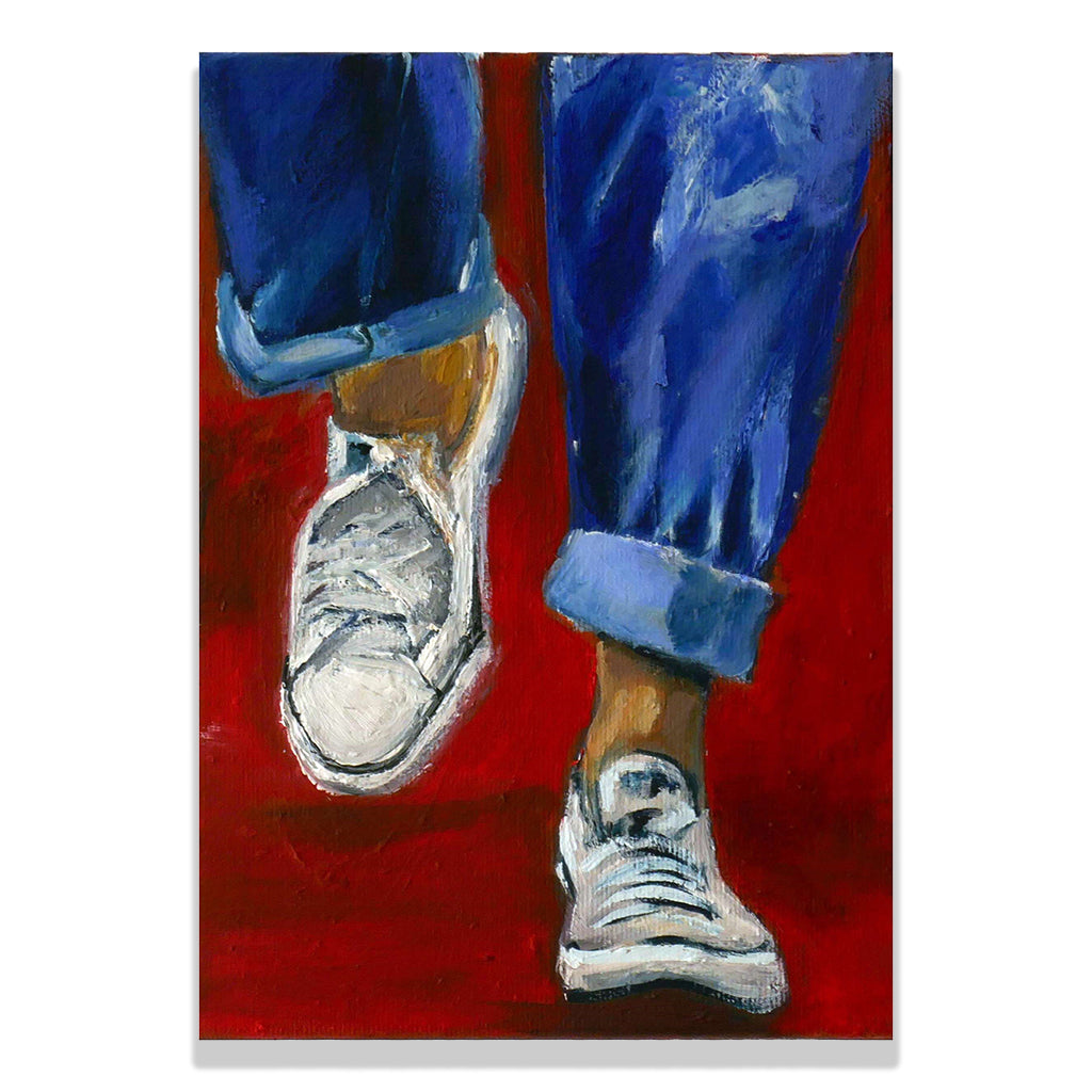Oil on cotton canvas painting by Olga Guarch titled Hurry, showing blue slouch jeans and white converse trainers on a red background.