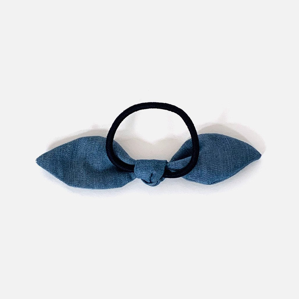 Upcycled Denim Bow Hair Tie on black elasticated band