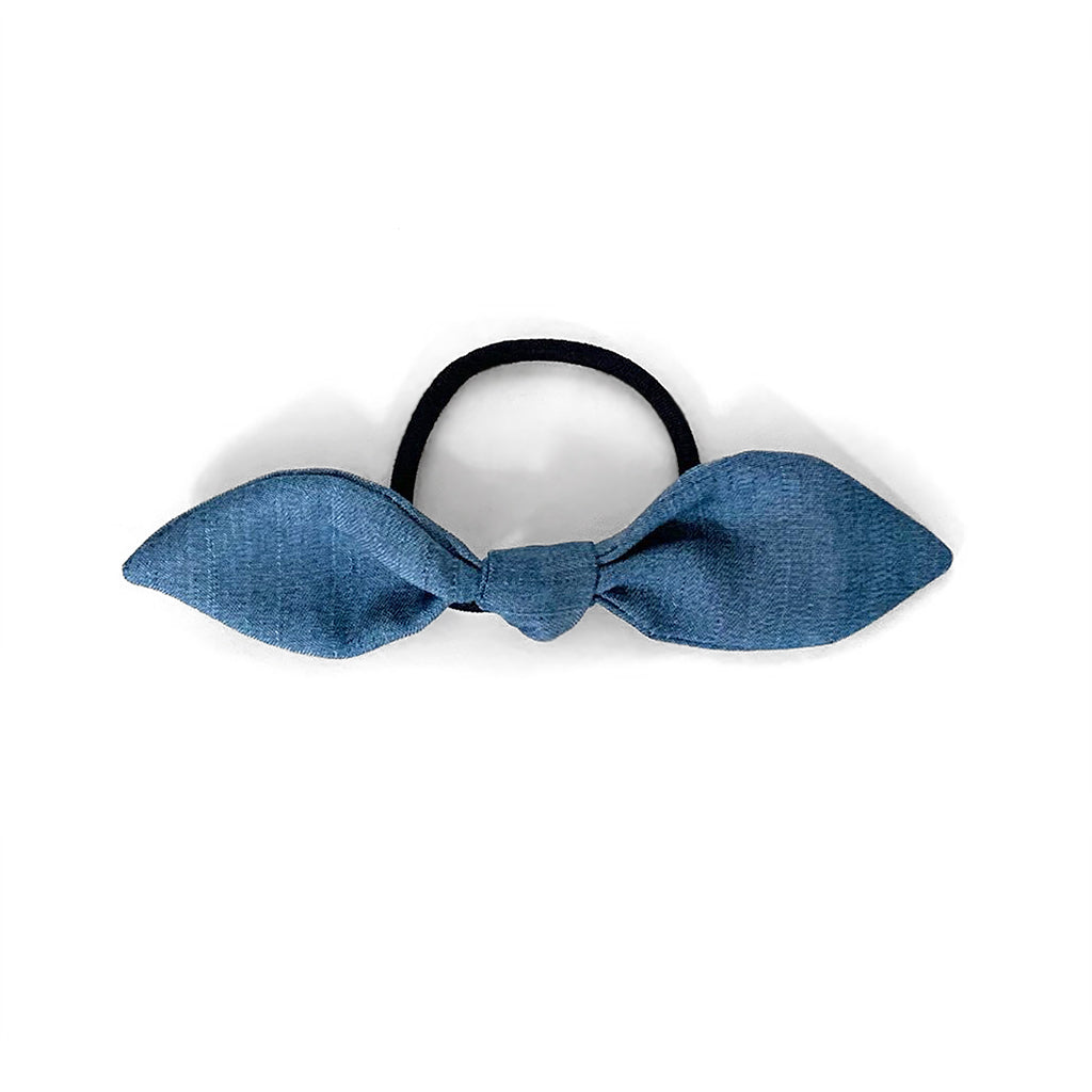 Upcycled Denim Bow Hair Tie