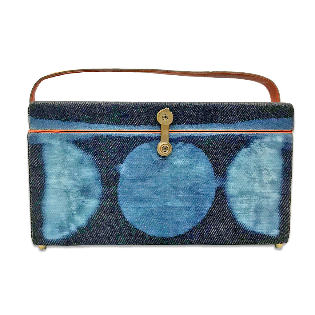 re-purposed telescope wooden box hand crafted and painted on indigo denim exterior and finished with premium leather interior and strap