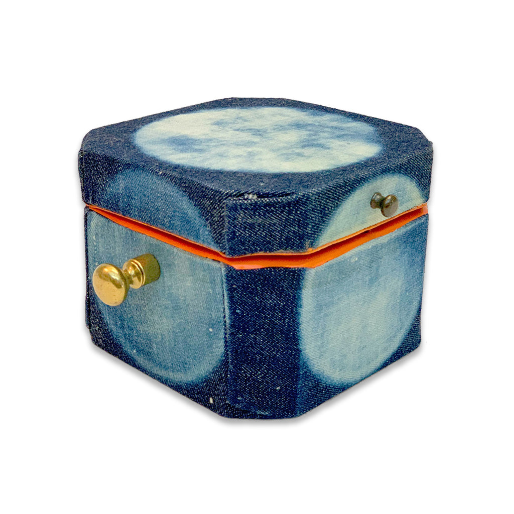 repurposed wooden hexagonal shaped box hand crafted and painted on indigo denim exterior, and finished with premium leather interior.