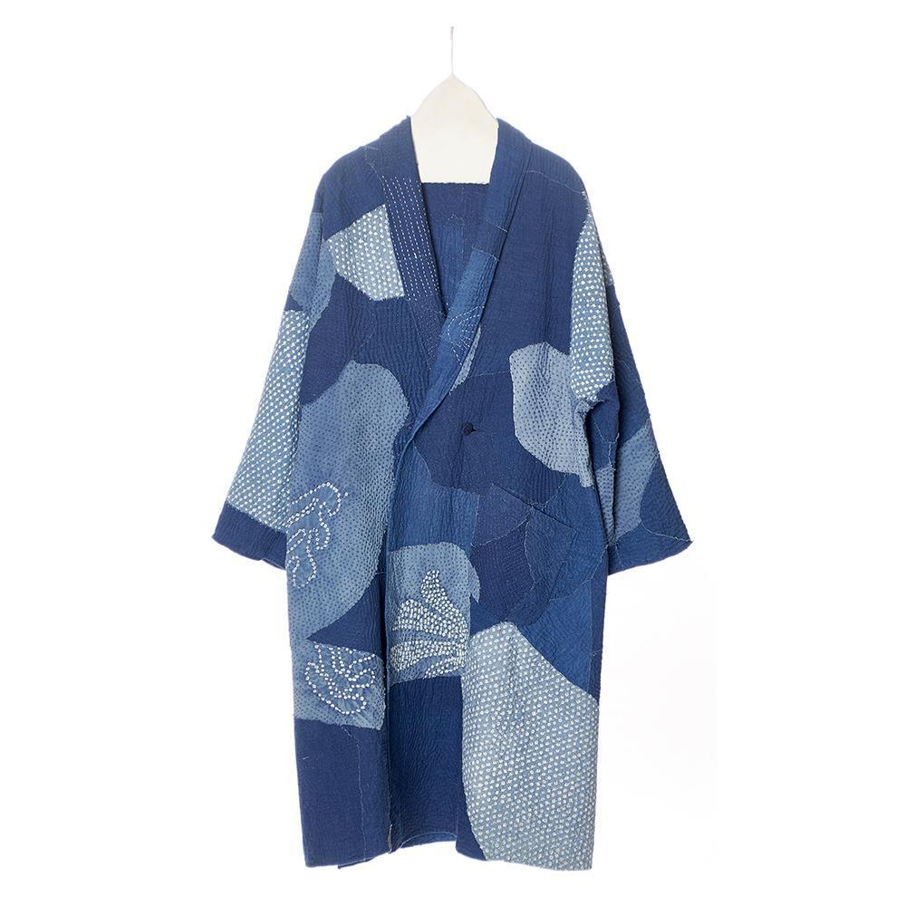 Blue and indigo patchwork kantha oversized coat